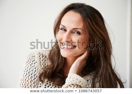 Retrato belo morena mulher mão Foto stock © dashapetrenko