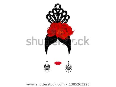 Espanhol flamenco mulher flor menina festa Foto stock © carodi