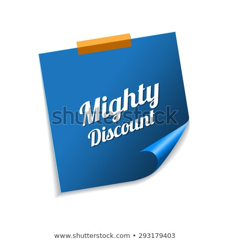 Mighty Discount Blue Sticky Notes Vector Icon Design Stock photo © rizwanali3d