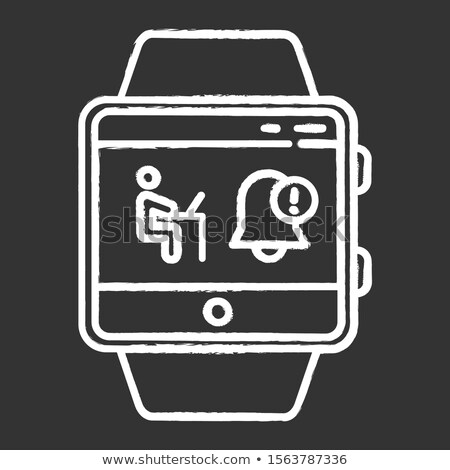 synchronization computer with mobile device icon drawn in chalk stock photo © rastudio