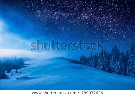Winter nacht landschap berg hut sneeuw Stockfoto © Kotenko