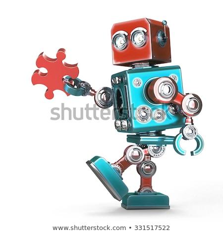 Aranyos retro robot kapcsolódik puzzle darab Stock fotó © Kirill_M