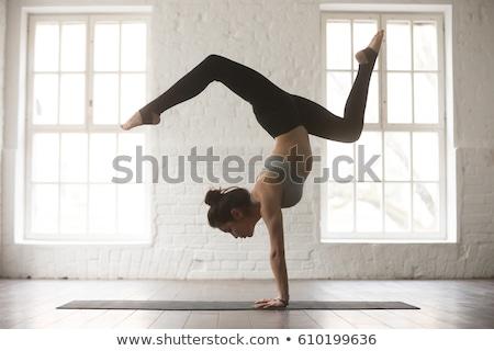 csinos · nő · jóga · meditáció · lótusz · pozició · zöld · fű - stock fotó © dash