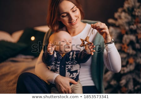 baby boy and mommy christmas portrait stock photo © igabriela