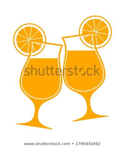 ilustración · dos · cócteles · amarillo · círculo · fiesta - foto stock © gigra