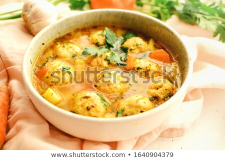homemade meatball soup with fresh vegetables stock photo © ozgur