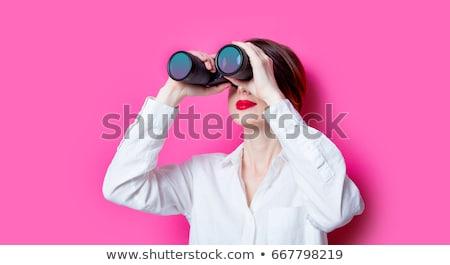 Iş kadını dürbün yalıtılmış beyaz kadın göz Stok fotoğraf © Kurhan