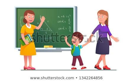 smiling woman holding backpack and waving hand stock photo © deandrobot