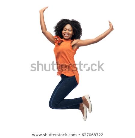幸せ · フィットネス女性 · 見える · カメラ · アフリカ - ストックフォト © deandrobot