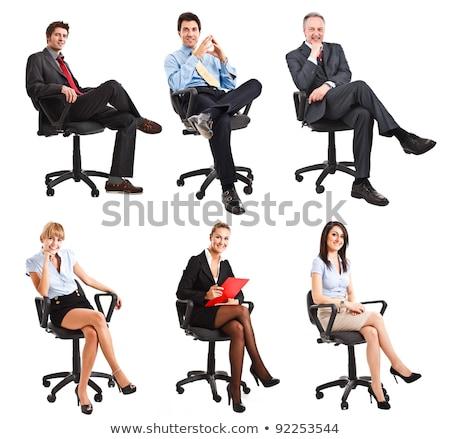 üzletasszony ül izolált fehér nő lány Stock fotó © Elnur
