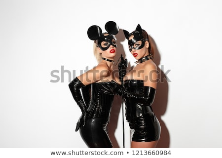 Kadın lateks kırbaç seksi moda siyah Stok fotoğraf © phbcz