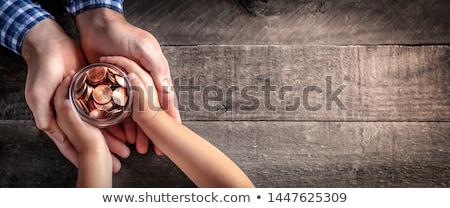 Caridade mesa de madeira palavra criança fundo caderno Foto stock © fuzzbones0