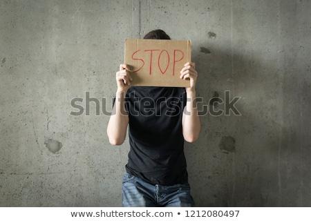 Man showing depression in dark background Stock photo © tab62