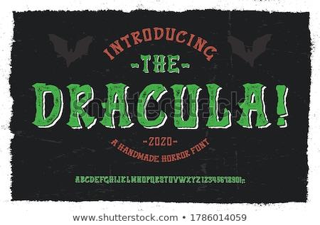 Foto stock: Halloween Font Set And Vector Vampire Dracula