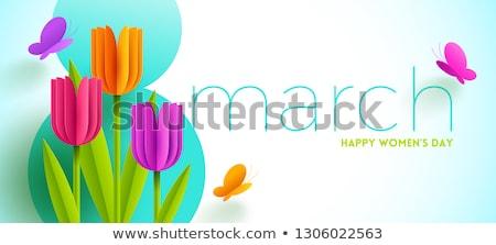 cartão · tulipas · fita · flores · natureza - foto stock © ashusha