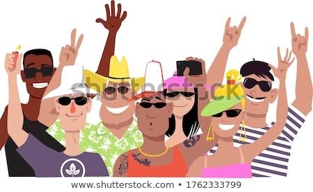 Cheering Crowd. EPS 8 Stock photo © beholdereye