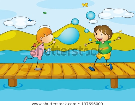 A young girl playing at the wooden bridge Stock photo © bluering