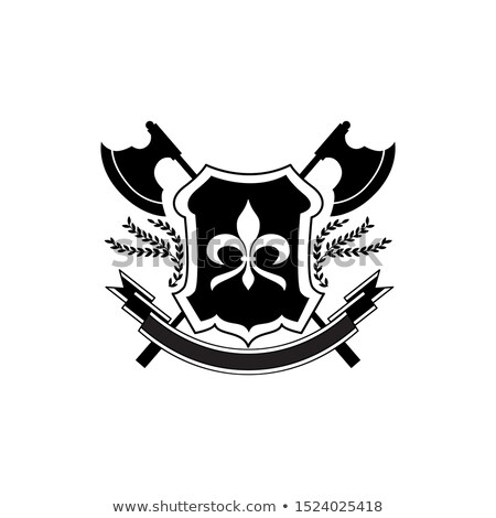 Schild bijl mooie ridder twee ontwerp Stockfoto © sharpner