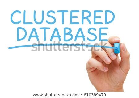 Datenbank blau Marker Hand schriftlich transparent Stock foto © ivelin