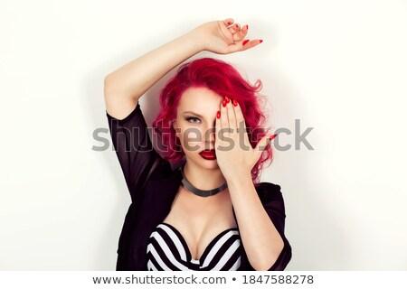 Vrouw zwarte lippenstift gedekt half gezicht Stockfoto © deandrobot