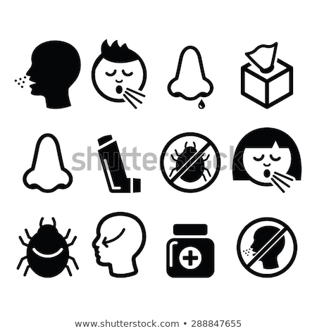 cold flu icons   nasal infection allergy nose design stock photo © redkoala