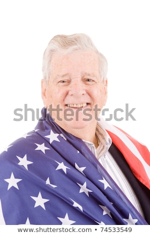 Stock photo: Patriotic Senior Man Wrap American Flag Isolated