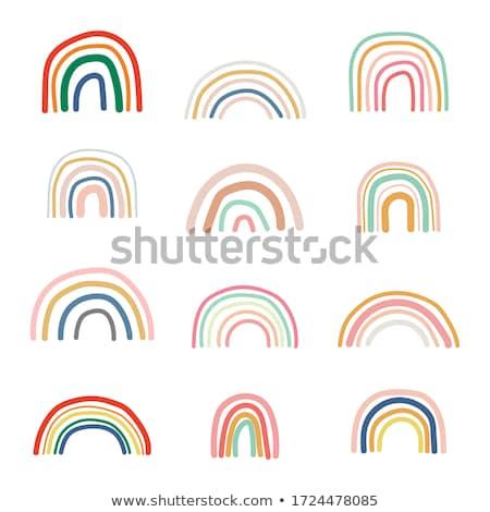 Rainbow doodle cute puéril espace un message Photo stock © zsooofija