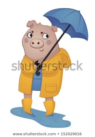 vector illustration of smiling girl in a yellow raincoat stock photo © curiosity