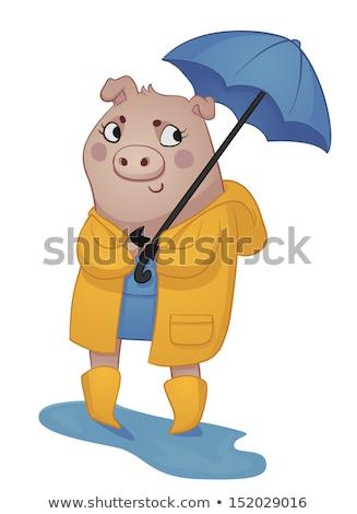 Glimlachend meisje Geel regenjas paraplu Stockfoto © curiosity
