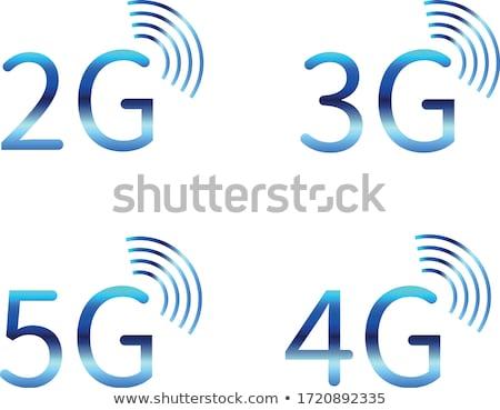 3g 4g ícones azul cinza símbolos Foto stock © Oakozhan