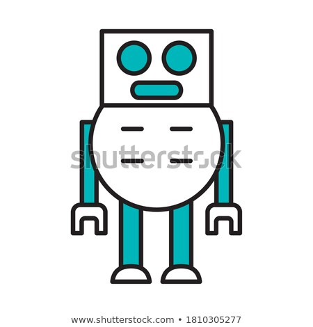 cute · robot · vierkante · lichaam · illustratie · model - stockfoto © bluering