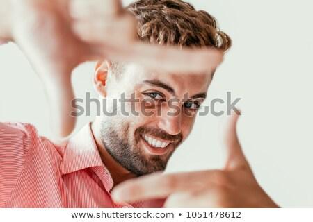 пальца · кадр · улыбаясь · азиатских · деловой · человек - Сток-фото © julenochek