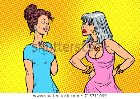 Dos mujeres duro tranquilo emociones arte pop Foto stock © studiostoks