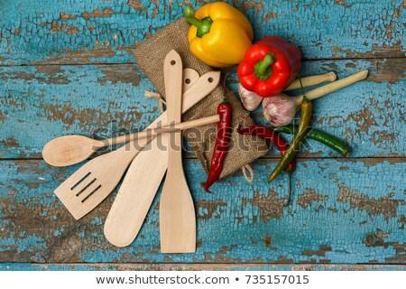 Fából készült evőeszköz különböző zöldségek rongyos kék Stock fotó © vlad_star