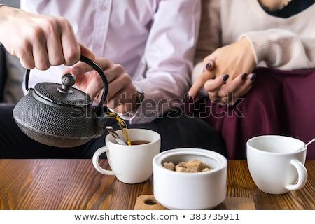 gülen · seven · çift · oturma · kafe - stok fotoğraf © monkey_business