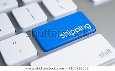 Tastiera blu pulsante esportazione 3D moderno Foto d'archivio © tashatuvango
