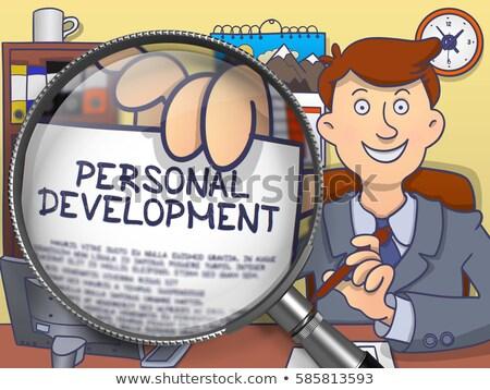 Career Development through Magnifying Glass. Doodle Concept. Stock photo © tashatuvango