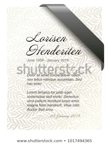 Cenaze kart şablon altın siyah şerit Stok fotoğraf © orson