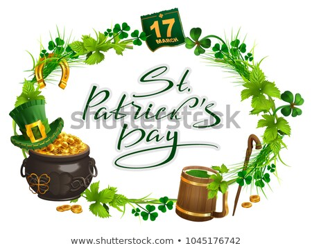 Patricks Day accessories pot gold, beer mug, clover leaf, March 17, wreath grass Stock photo © orensila