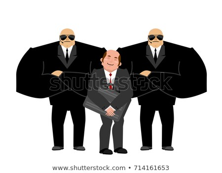 Bodyguard Services and businessman with suitcase. VIP protection Stock photo © popaukropa