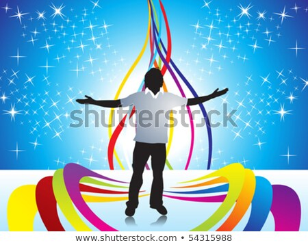 Stockfoto: Abstract Halftone Background With Illustration Of Boy Silhouttes