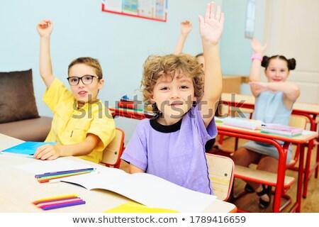 Deux garçons leçon livre crayon bureau Photo stock © IS2