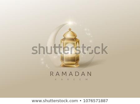 elegant ramadan kareem design with mosque and glowing light Stock photo © SArts