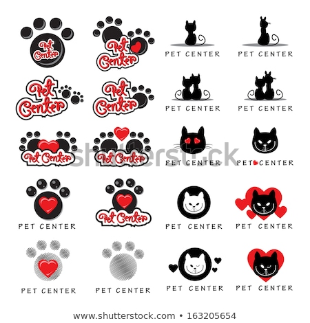 Red Heart Paw Print And Dog Head Silhouette Logo Design Stock photo © hittoon