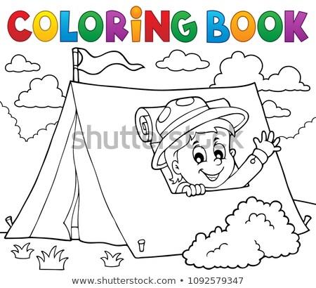 Livro para colorir escoteiro tenda pintar menino saco Foto stock © clairev