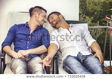 El ele tutuşarak balkon çift bahçe romantizm Stok fotoğraf © IS2