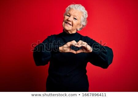 Rot Herz Senior Hand schwarz Gesundheit Stock foto © sqback