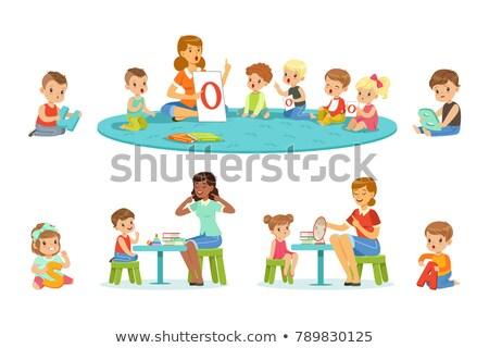Beszéd terapeuta rajzolt emberek betűk illusztráció izolált Stock fotó © Decorwithme