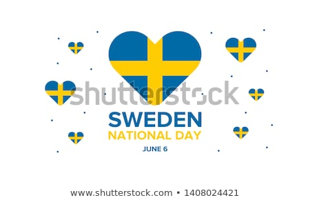 Svédország nap ünneplés szalag poszter vektor Stock fotó © SaqibStudio