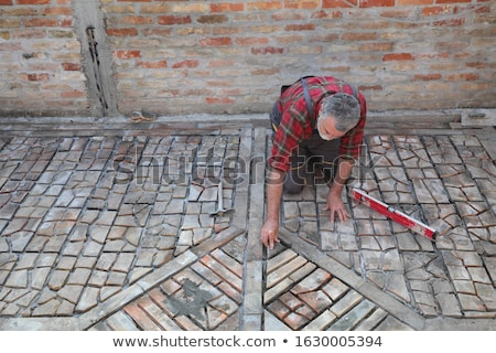 Pavement or terrace making, using recycling materials Stock photo © simazoran